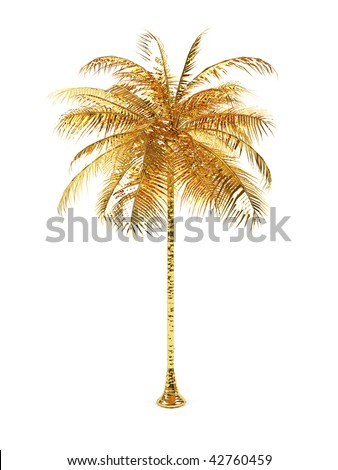 Golden palm on a white background. 3d image.