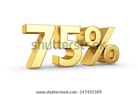 75 golden percent symbol isolated on white with clipping path