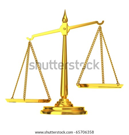 Golden Scales of justice - stock photo