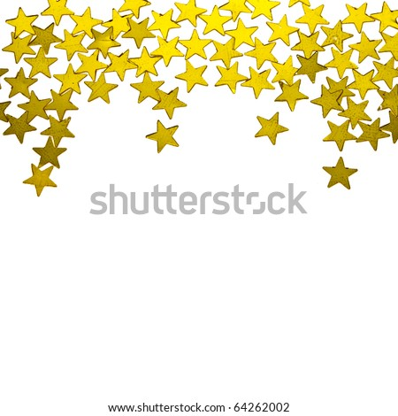 golden  stars ornaments on white background - stock photo
