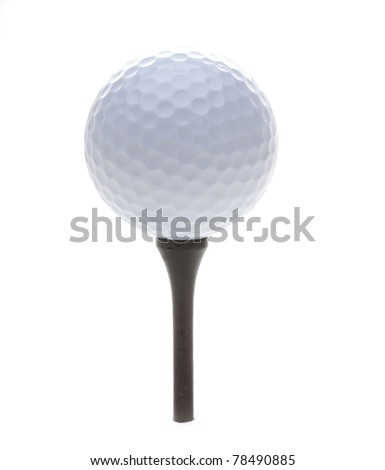 Golf Ball and Tee isolated on a white background - stock photo