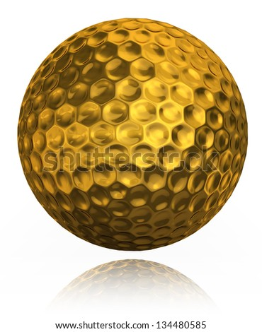 golf ball gold prize . clipping path included - stock photo