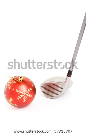 golf club and Christmas Ball close up