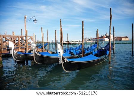 Gondolas at the Piazza San Marco - stock photo