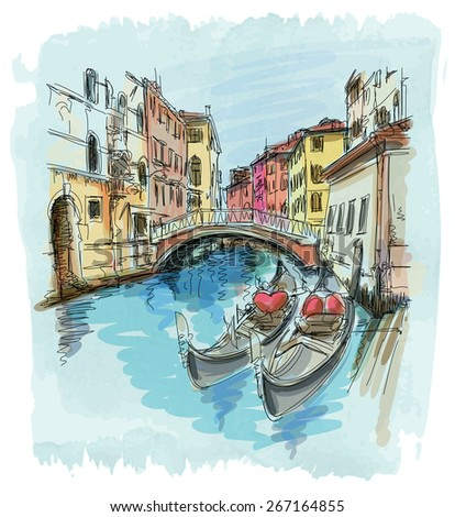 2 gondolas. Ponte del Mondo Novo, Campo S.Maria Formosa. Venice, Italy - stock photo