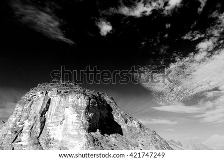 gorge and canyon the deep cloudy sky   in oman the old  mountain
