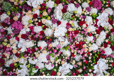 gorgeous floral composition of the orchids and roses in white, red , pink colors - stock photo