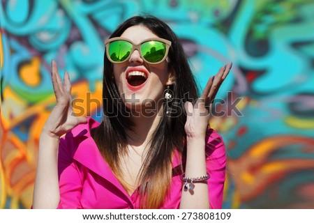 Graffiti Shouting                              - stock photo