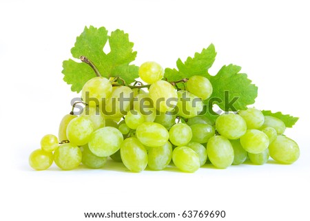 grape with green leaves isolated on white background - stock photo