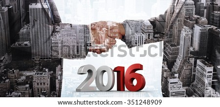 2016 graphic against composite image of close up on two businesspeople shaking hands - stock photo