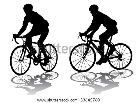 graphic male on a bicycle. Silhouette on white background