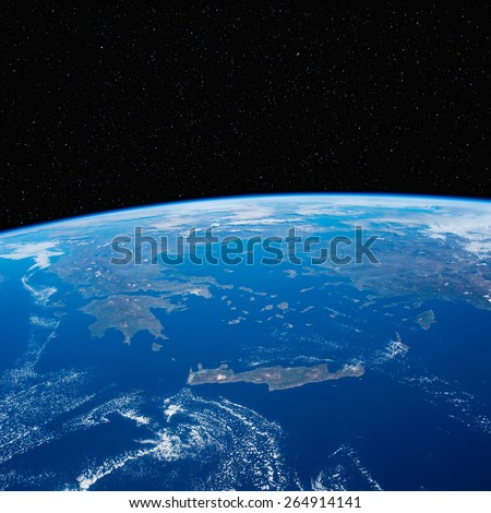 Greece from space with stars above. Elements of this image furnished by NASA.  - stock photo