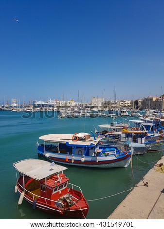 05.20.16. Greece, Heraklion. Beautiful view of the harbor of Heraklion. Beautiful colorful boats on the dock.