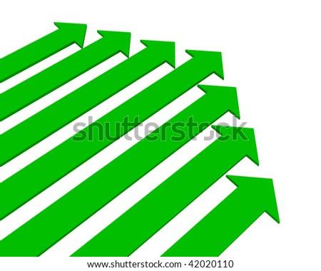 Green arrows - stock photo