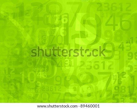 green background with abstract numbers - stock photo