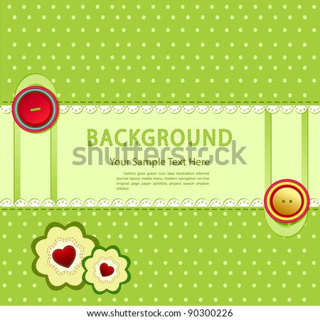 green background with buttons and two flowers with hearts - stock photo