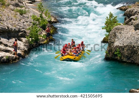 GREEN CANYON, TURKEY - JULY 10, 2010: White water rafting on the rapids of river Manavgat on July 10, 2009 in Green Canyon, Turkey. Manavgat River is one of the most popular among rafters in Turkey.