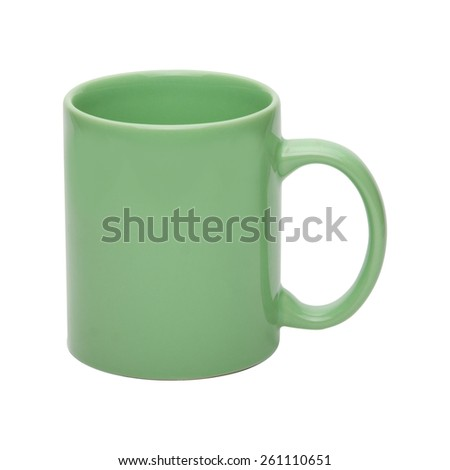 Green coffee cup isolated with clipping path included - stock photo