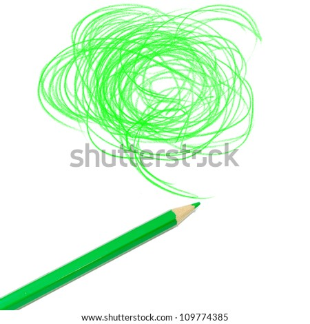 green colored pencil drawing  on a white background - stock photo