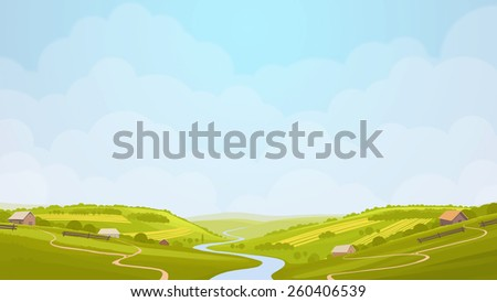 Green countryside view in the sun. Summer day in village, fields. Digital background raster illustration. - stock photo