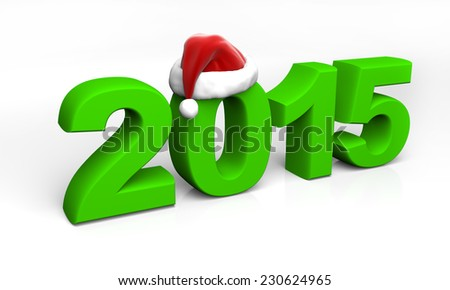 2015 green digits with santa hat isolated on white