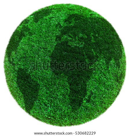 green earth grass on the white background