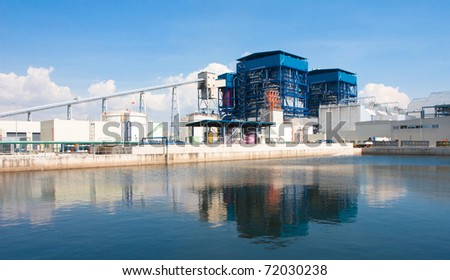 Green electric generator power plant - stock photo