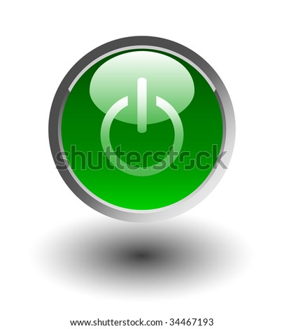 Green glowing power on or off button - stock photo