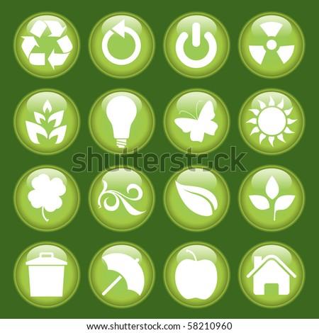 Green icon set - stock photo