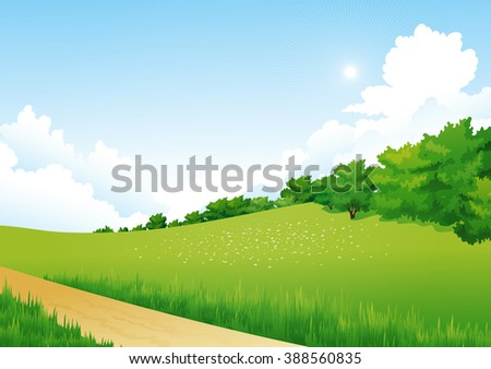 Green Landscape with trees, clouds, flowers. Summer meadow. Spring landscape