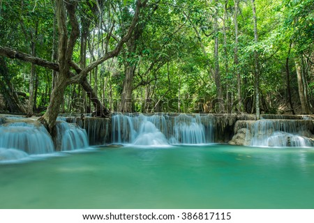 Green nature landscape with turquoise waterfall