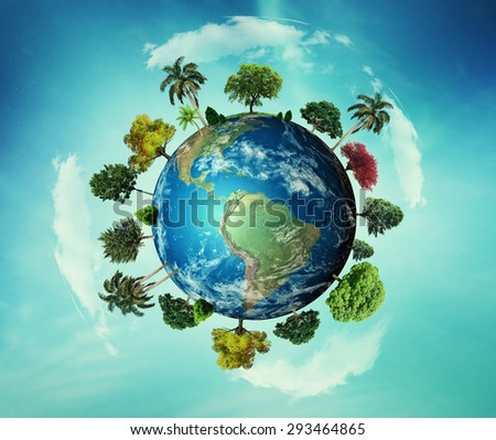 green planet concept with green grass and trees on the continents and blue on the oceans. - Elements of this image furnished by NASA. - stock photo