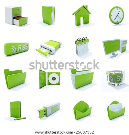 16 green plastic 3d icons isolated on white - stock photo