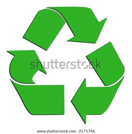 Green Recycle Symbol - stock photo
