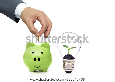 Green saving concept for wealth and environment - stock photo