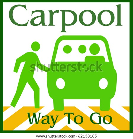 green van and people on white background illustration - stock photo