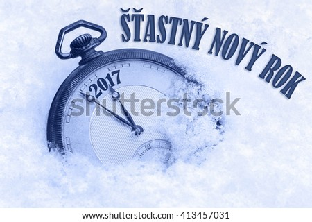 2017 greeting in Czech language, Happy New Year, Stastny novy rok text, New Year Czech, Slovak language - stock photo