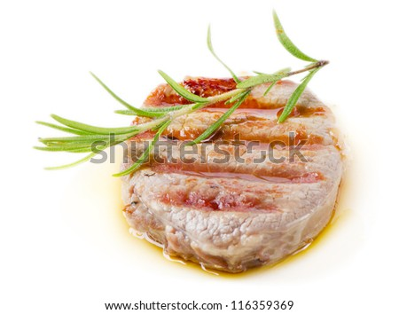 Grilled Beef Steak with rosemary isolated on white