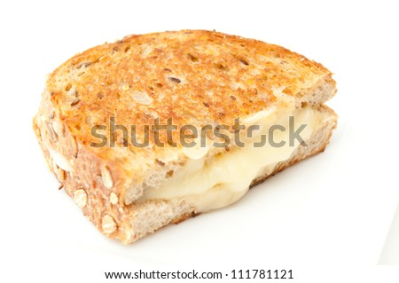 grilled cheese sandwich made with stone ground whole wheat flour and fresh irish cheddar cheese - stock photo