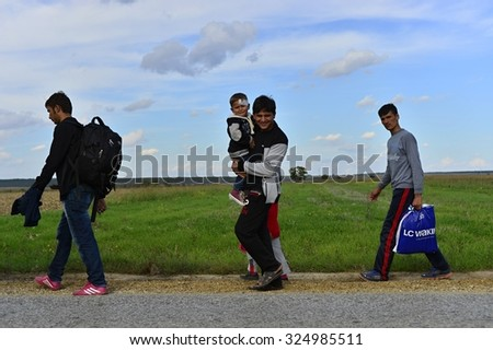 Group of Afghan refugees leaving Serbia. They came to Sid by taxi and then they leaving Serbia and go to Croatia and then to Germany. October 4, 2015; Sid in Serbia.