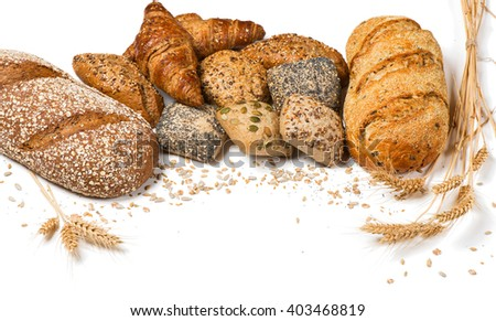 Group of different types of bread and cereals isolated on white background.