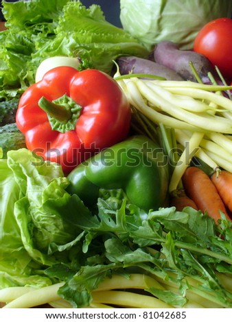group of fresh vegetables - stock photo