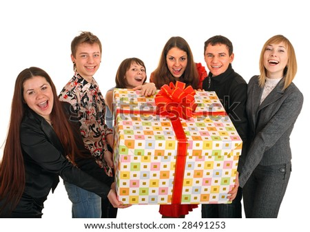 Group of people and gift box. Isolated. - stock photo