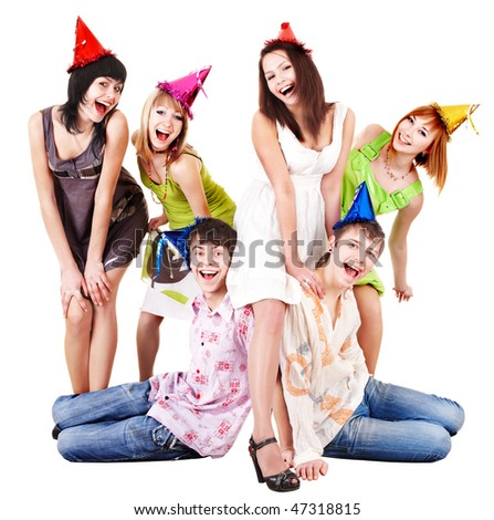 Group of people in party hat celebrate birthday. Isolated. - stock photo