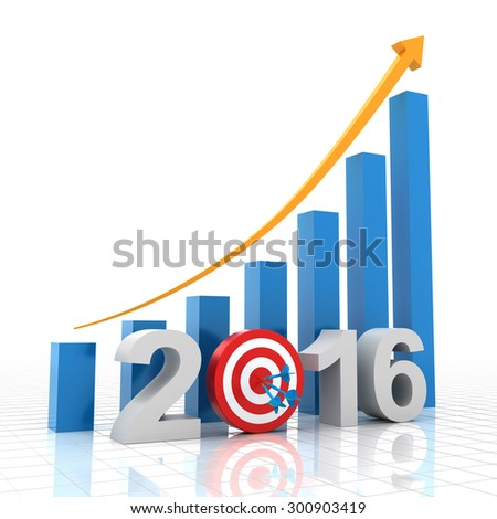 2016 growth target, 3d render, white background - stock photo