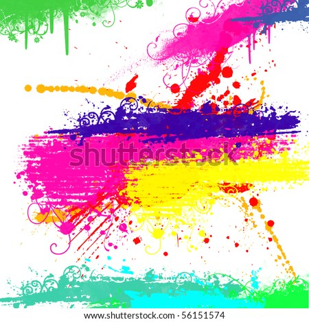 Grunge background with Splash of water colors on a white background - stock photo