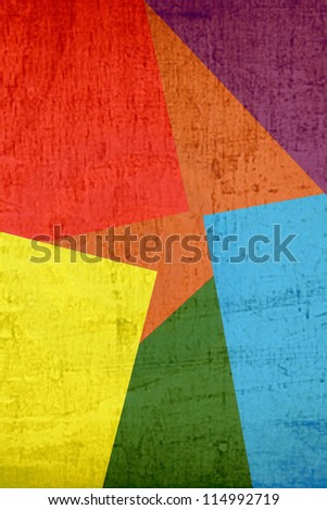 Grunge computer generated color paper clippings collage - stock photo