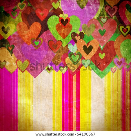 grunge love pattern background  with some stains on it - stock photo