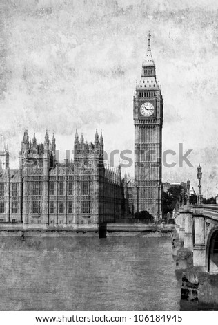 Grunge old paper.  Buildings of Parliament with Big Ben tower in London, UK. - stock photo