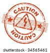 grunge rubber stamp with the text caution (jpg) - stock vector